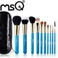 MSQ 10pcs Professional Blue Makeup Brushes Set With Black  Leather Case