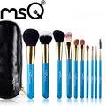 Msq 10 unids azul profesional pinceles de maquillaje con estuche de cuero negro