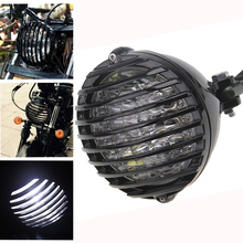 купить Black Motorcycle Finned Grill Led Headlight for HARLEY HONDA YAMAHA SUZUKI KAWASAKI CHOPPER/BOBBER/CAFE RACER / TOURING дешево