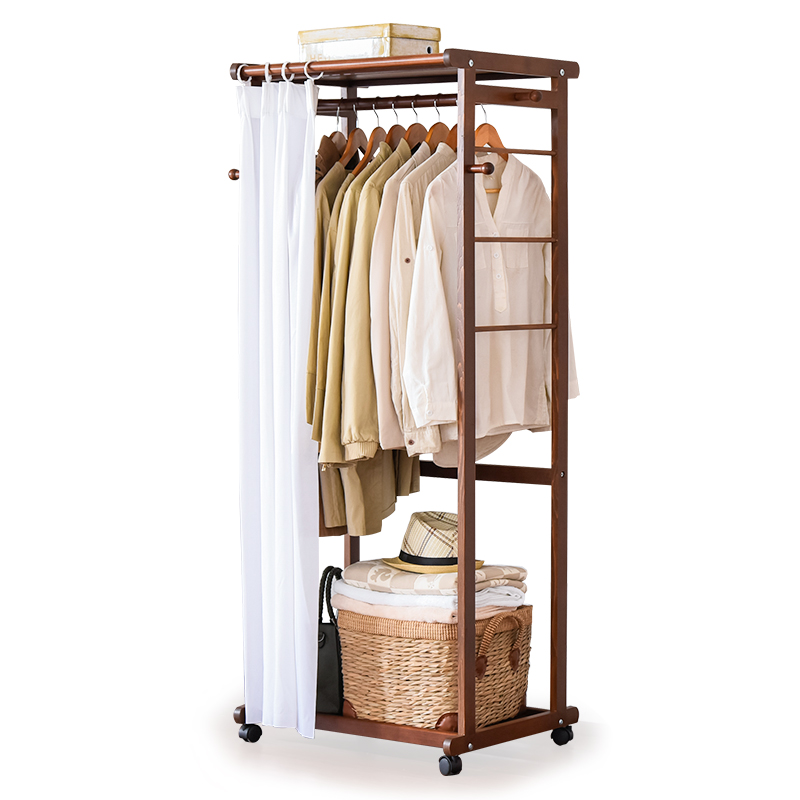 LK26 Portable Multi Function Clothing Hanger Coat Rack Quality Wood Wardrobe Garment Shelves Stand Rolling Clothes Organizer In Storage Holders Racks