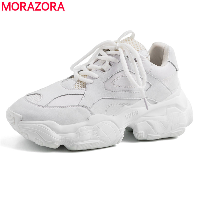 MORAZORA 2019 New arrival Genuine leather shoes women sneakers platform casual shoes woman lace up white