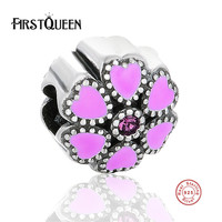 FirstQueen Fit Original Brand Bracelet Silver 925 Original Loving Heart Enamel Charms Beads DIY Jewelry Making