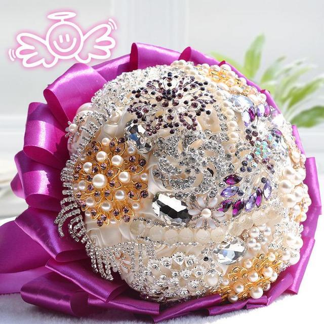 Nueva púrpura del ramo de novia ramo de novia de cristal de lujo