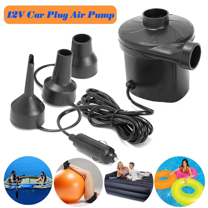 DC 12V Portable Electric Air Pump Air Bed Mattress Boat Car Auto Air Inflatable Pump For Camping Inflator with 3 Nozzles Mayitr
