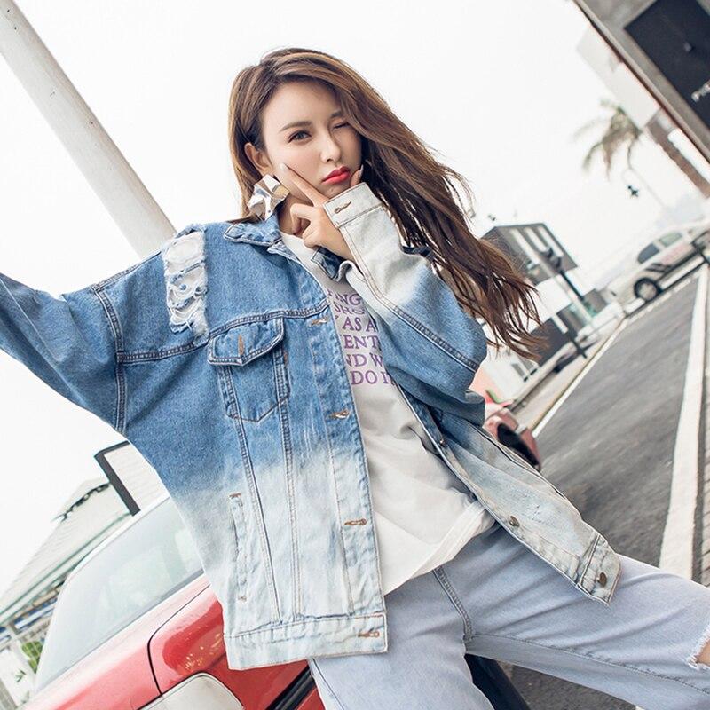 Foro 2018 Colori Jeans Cappotti Sfumatura Giallo colore Donne Giubbotti  Denim Bomber Strappato Colore Bf Molla Blu Della Di ... 5e6785a0592