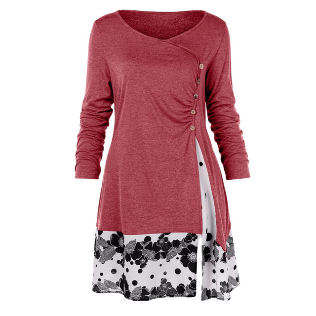 a2fed44e73ed0 ISHOWTIENDA 2019 New Arrival Womens Fashion Plus Size Button Draped Floral  Splicing Long Tunic Blouse Tops