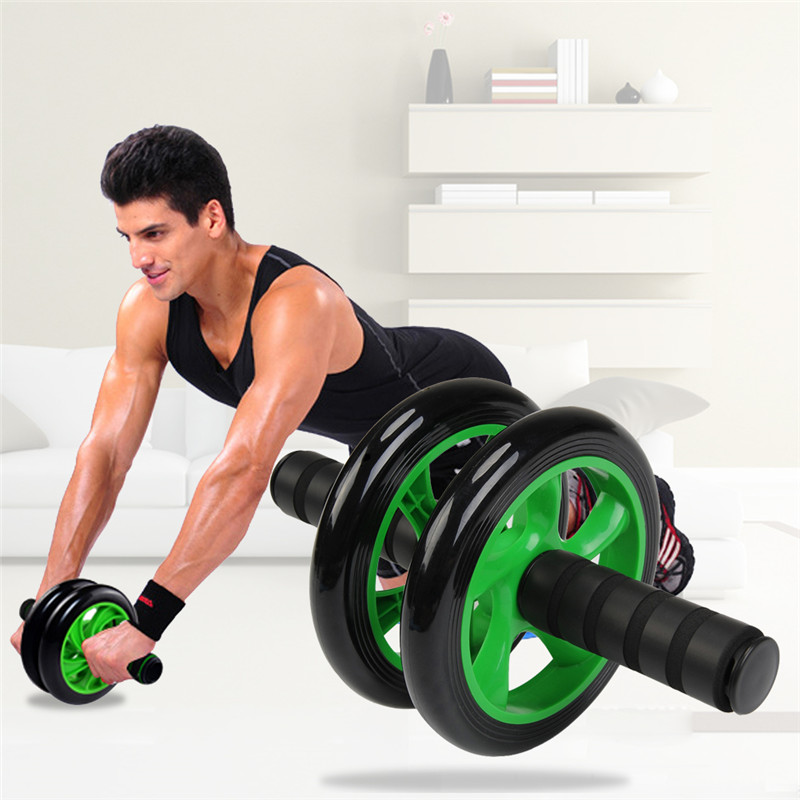 18.5*25CM AB Roller Crossfit Fitness Equipment High Strength Plastic Wheel Steel Stick With Foam Grip Belly Exercise AB Wheel
