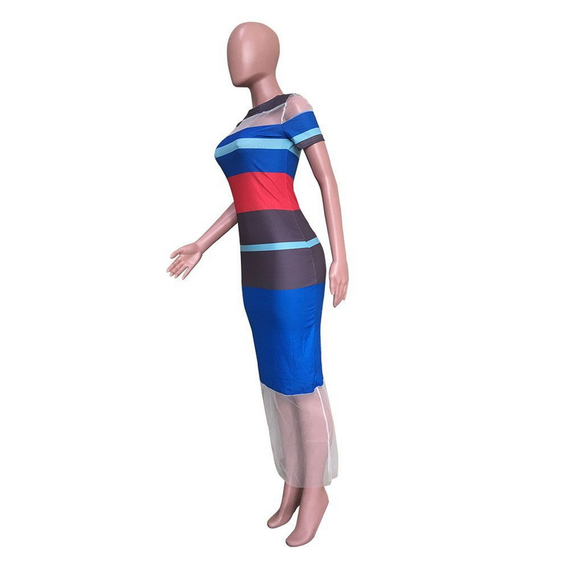 2019 Bandage Dress Knitted Striped Patchwork Mesh Maxi Dresses Long Short Sleeve Perspective Vestidos De Largo Sexy Ankle Length in Dresses from Women 39 s Clothing