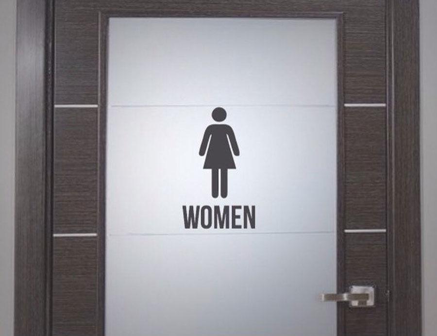 Us 1 69 15 Off Handiced Bathroom Wc Toliet Sign For Men Women Vinyl Sticker Door Window Restaraunt Restroom Decal Dr01 In Wall Stickers