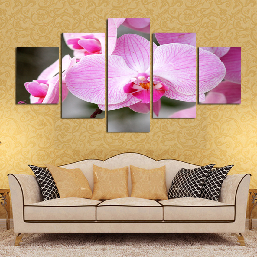 2017 Hot Sale Blooming Butterfly Flower Painting Abstract Modular Picture Home Decor Oil Painting On Canvas 5 Panel Wall Art
