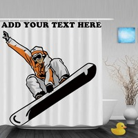 Personalized Snowboarder Shower Curtain Customize Your Text Bathroom Shower Curtains Polyester Waterproof Fabric With Hooks