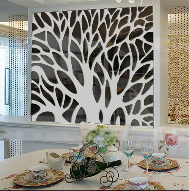2015 new 3d large tree mirror wall stickers mirror stickers acrylic stickers for living room entrance