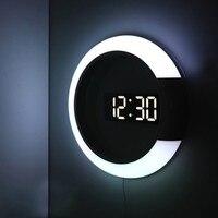 3D LED Digital Table Clock Alarm Mirror Hollow Wall Clock Modern Design Nightlight Wall Watch For Home Living Room Decorations