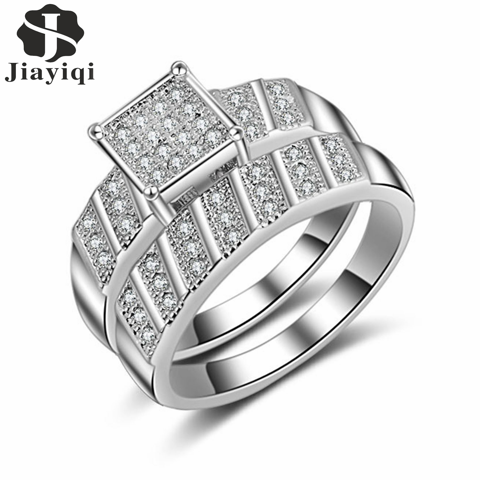 2017 Silver Color Cubic Zirconia Crystal Ring Set Fashion Wedding & Engagement  Ring Set Jewelry For