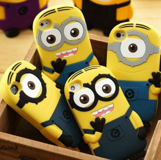 2016 Hot! 3D cartoon model silicon material Despicable Me Yellow Minion Cover cute phone Case for iphone 6 small yellow people