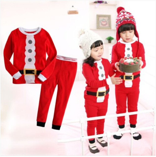 23d6cc693b 2015 New Antumu Christmas Baby Girl Fashion Outfits Cotton Deer Stripe Tops  +Pants Pajamas Baby Boy Sets Clothes Sleepwear Sets