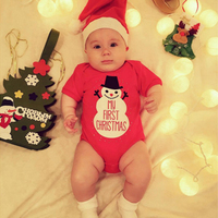 Baby Clothing Bodysuit 2pcs Newborn 2018 Infant Baby Red Cotton Christmas Short Sleeve Summer Clothes Hat