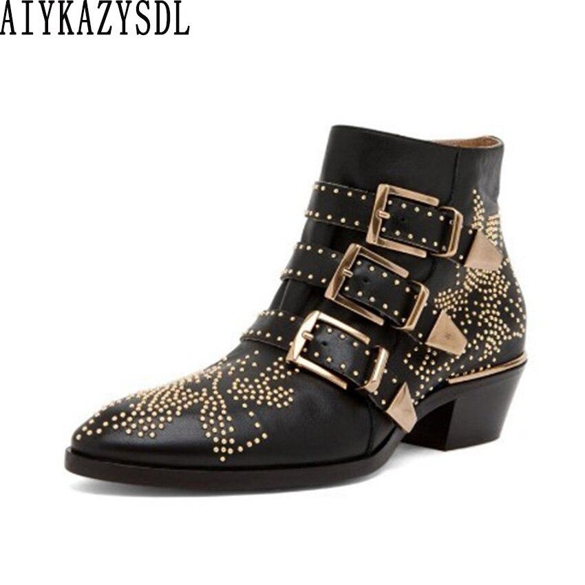 AIYKAZYSDL/женские ботильоны из натуральной кожи с шипами; обувь с цветочными заклепками; роскошные бархатные ботильоны; мотоботы на каблуке