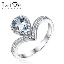 Leige Jewelry Natural Aquamarine Engagement Ring for Women Pear Cut 925 Sterling Silver Fine Jewelry March Birthstone Rings