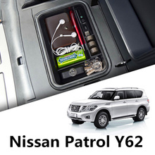 Non-Slip Mat In Central Armrest Container Holder Stowing Box For Nissan Patrol Y62 2010 2011 2012 2013 2014 2015 2016 2017 2018 2013 2017 non slip console tray central armest tray refrigerator for nissan patrol y62 armada accessories