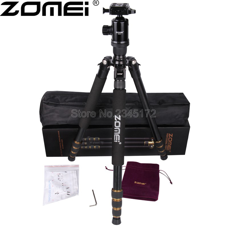 New Zomei Z688 Aluminum Professional Tripod Monopod For DSLR Camera With Ball Head / Portable Camera Stand / Better than Q666 new qzsd q888 professional aluminum tripod monopod with ball head for dslr camera to camera camera stand better than q666