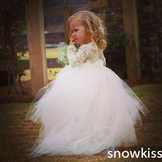 Cute sheer lace crew collar ball gowns lovely full sleeves white/ivory tutu flower girl dresses for wedding birthday party custom nice sheer short lace sleeve boat neckline ball gowns long pleated appliques wedding birthday party flower girl dresses