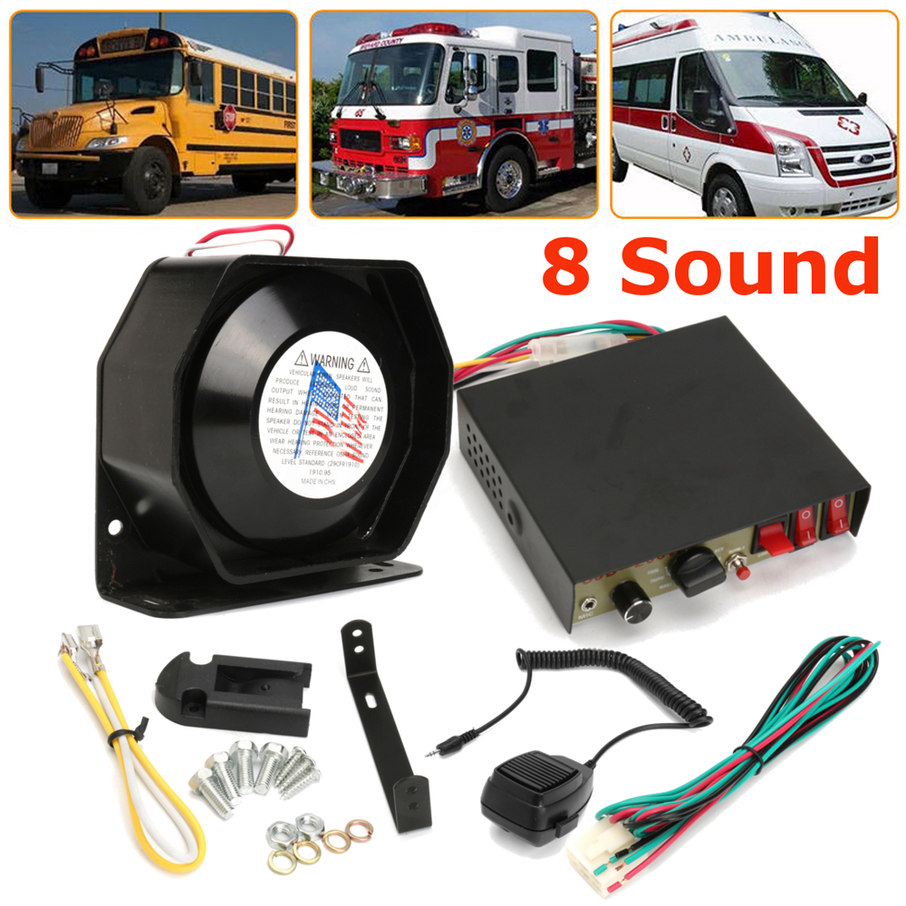 hight resolution of larath car alarm siren amplifier 200w 8 sound speaker police fire siren horn with pa mic system module anti theft device black in multi tone claxon horns