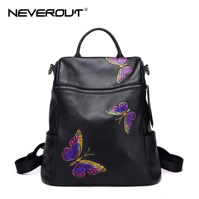 NEVEROUT Zipper Genuine Leather Notebook Bag Butterfly Travel Mochilas Leisure Brand Black Backpacks Rucksack Women Shoulder