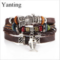 Yanting Vintage Woven leather men bracelets charm owl Woven bracelet steampunk New fashion men jewelry pulseira masculino 0105