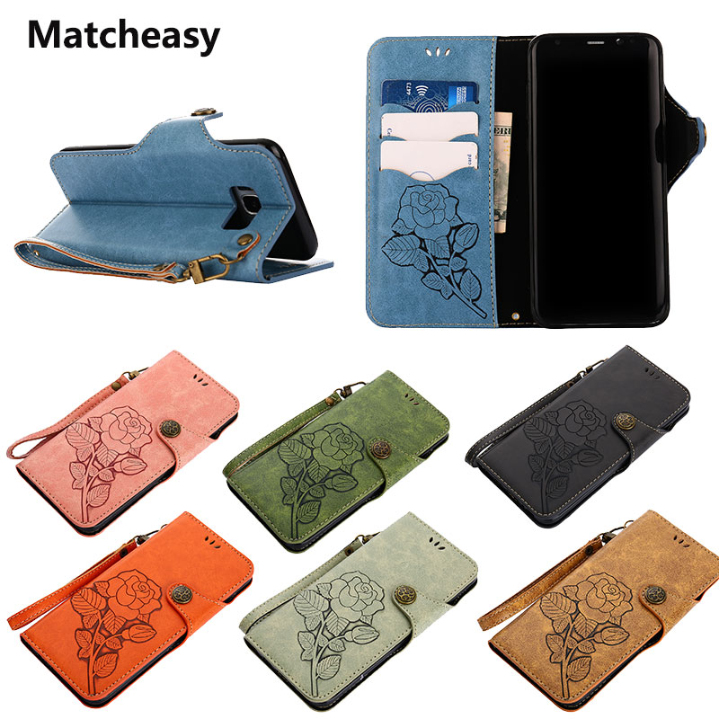 Matcheasy Vintage Flip Case For Samsung Galaxy S7 S7edge Cover Full Cover Protection For Galaxy S8 Plus Note 8 Floral Case Coque