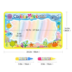 Image 2 - Coolplay Animal Themes Rainbow Water Drawing Mat & 2 Pens Water Doodle Mat Coloring Books Water Painting Rug Xmas Gift for Kids