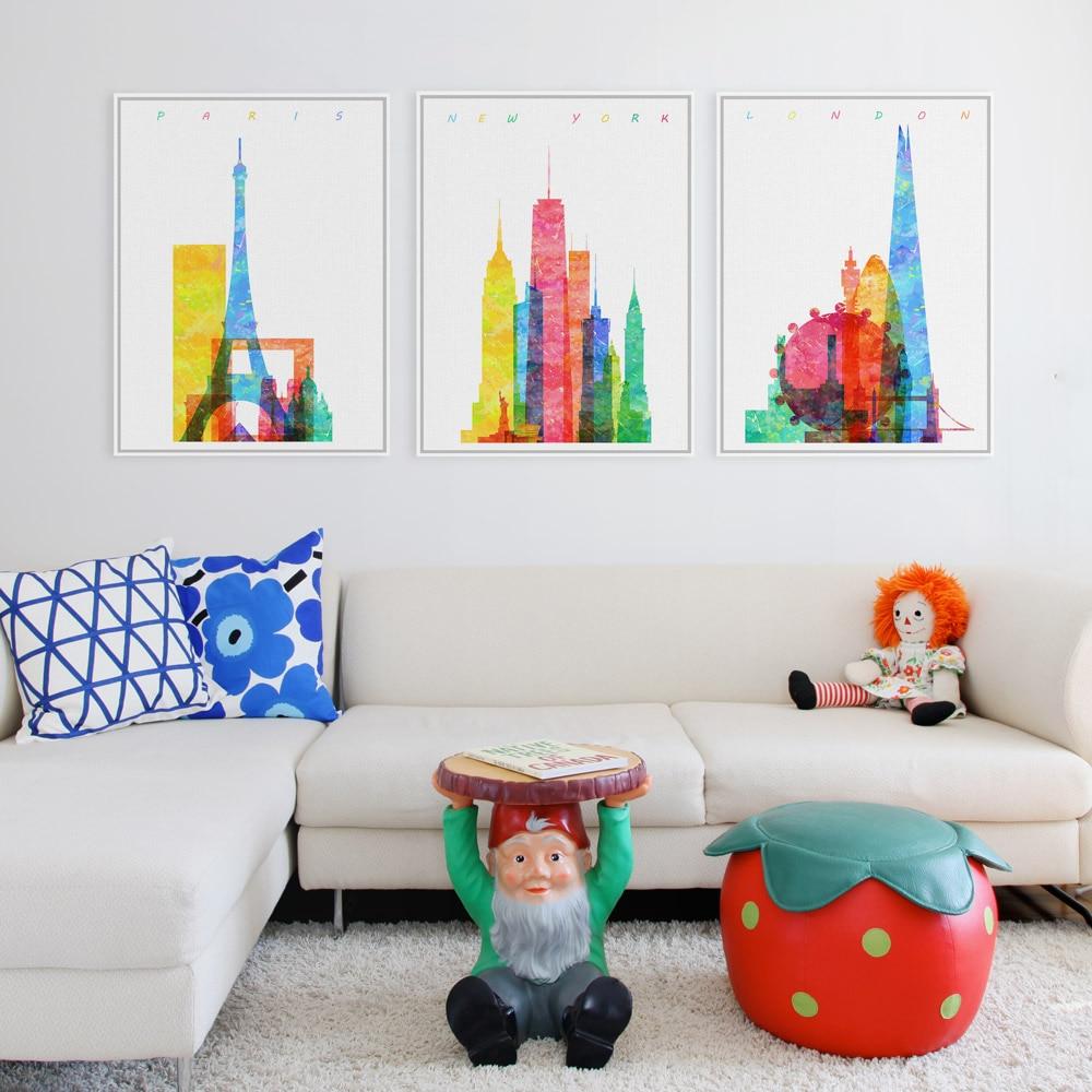 Aliexpress Com Buy 3 Pieces Wall Art New York City: Aliexpress.com : Buy Triptych Original Watercolor Paris