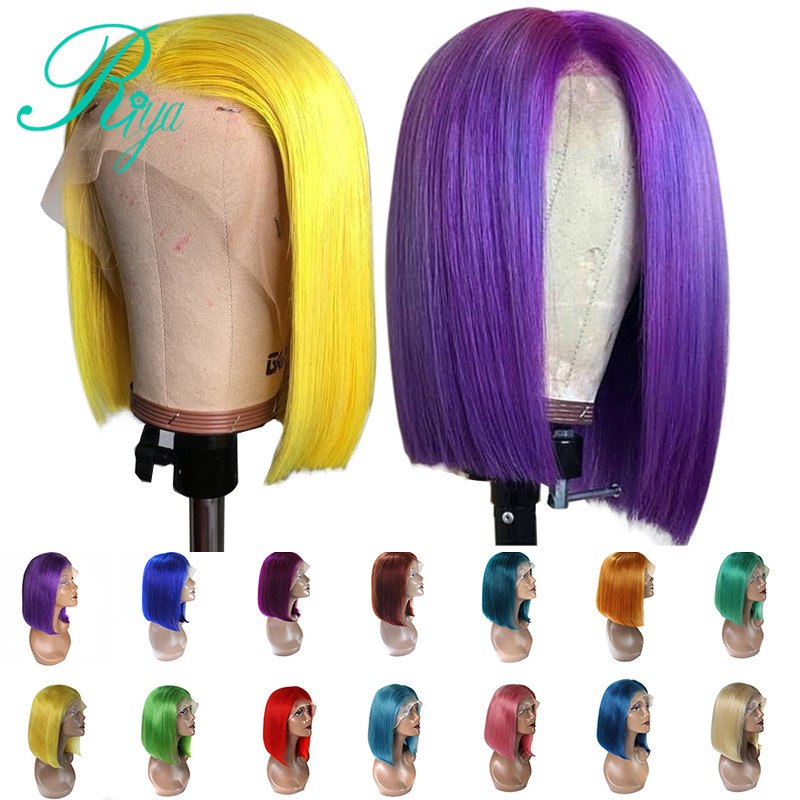 150% perruque de cheveux humains avant de lacet 613 perruques Blonde courte Bob gris brésilien rose droite Ombre 13X4 Remy perruques pour les femmes noires