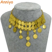 Coin-Necklace Jewelry Gifts Africa Gold-Color Women's/girls 43cm Anniyo Metal for Arab