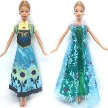 NK Two Set Princess Doll Anna Elsa Outfit Movie Similar Dress Fairy Tale Wedding Dress For