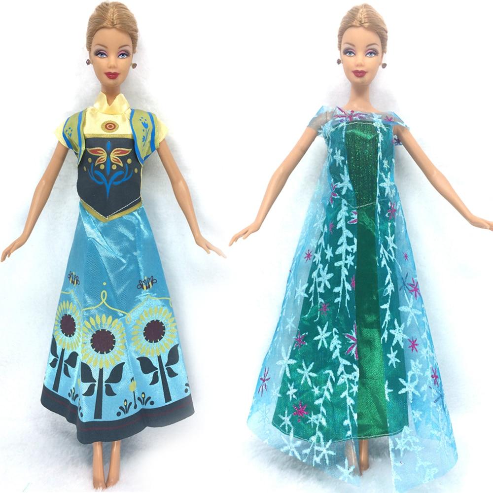 NK Two Set Princess font b Doll b font Anna Elsa Outfit Movie Similar Dress Fairy