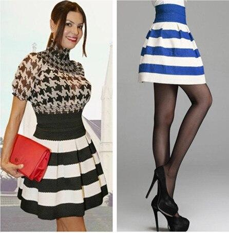 Black And White Striped Skater Skirt - Skirts