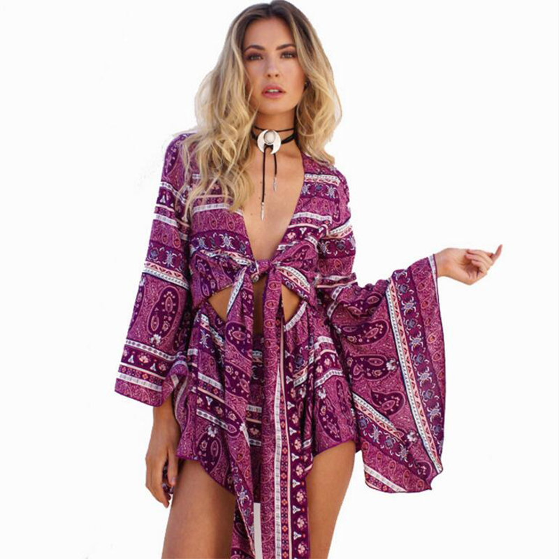 Print  Rompers Womens Jumpsuit Sexy Deep V Neck 2020 Summer Long Sleeve Ruffled Vintage Bodysuit Casual Beach Playsuit X109