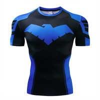 2019New Nightwing 3D Drucken t shirts Männer Compression fitness shirts Superhero Tops kostüm Kurzarm Fitness Crossfit T-shirts