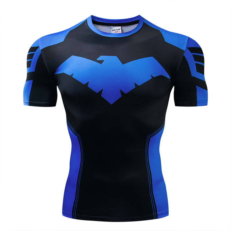 2019New Nightwing 3D Print   t     shirts   Men Compression fitness   shirts   Superhero Tops costume Short Sleeve Fitness Crossfit   T  -  shirts