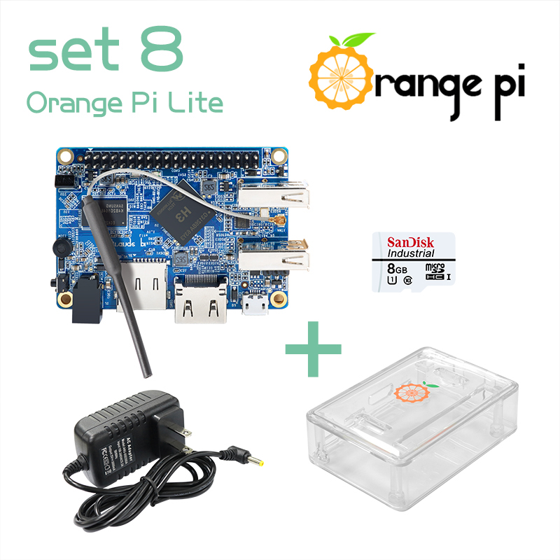 Prix pour Orange pi lite set8: orange pi lite + transparent abs cas + alimentation + 8 gb classe 10 carte micro sd au-delà framboise