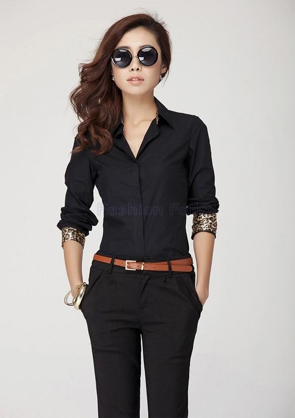 e091c077e Fashion Woman Clothes 2015 Female Shirts Leopard Patchwork Blouse Long  Sleeve Shirt Women Work Wear Shirts Blouses Tops ZDD