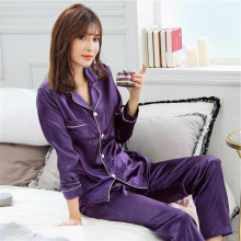 Plus size S-XXL Women Silk Satin Pajamas Pyjamas Set Sleepwear Long Sleeve
