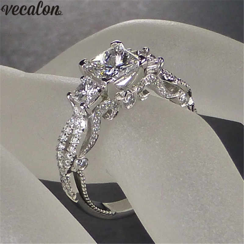 choucong Vintage Promise Wedding Ring 925 sterling Silver Three stone AAAAA cz Engagement Band Rings For Women Finger Jewelry