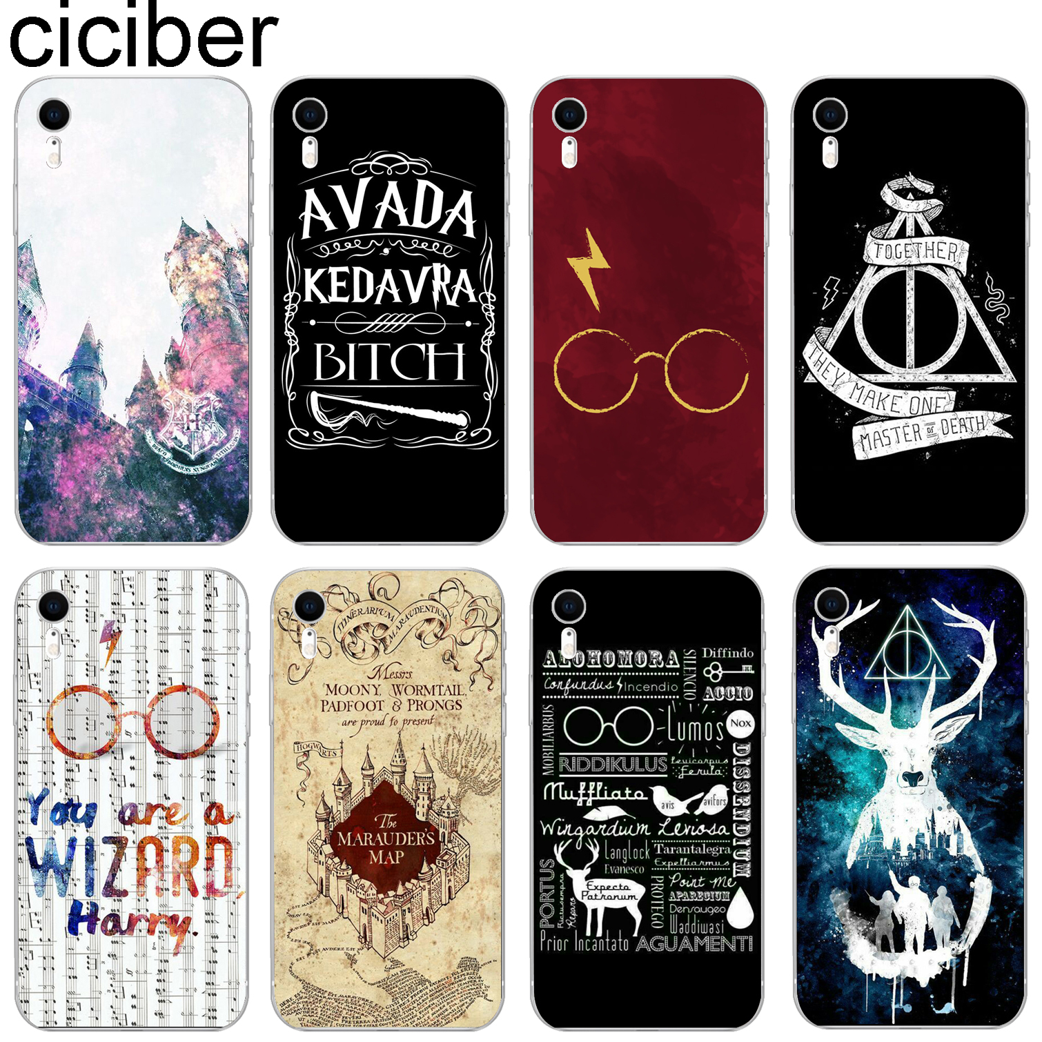 ciciber Harry Potter Cute Pattern Design Soft Silicone Phone Cases Cover for Iphone 8 7 6 6S Plus 5S SE X XR XS MAX Coque Fundas Переносные часы