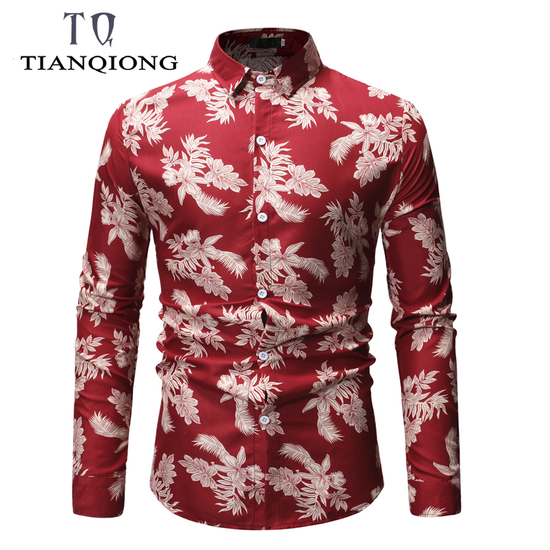 TIAN QIONG Spring 2019 New Long Sleeve Casual Beach Hawaiian Mens Shirt All Over Printed Luxury Shirt Brand Mens Clothes ML28 in Casual Shirts from Men 39 s Clothing
