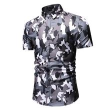 Flower Shirt for Men Slim fit Blouse Mens Clothing Hawaiian Style Camouflage Shirts Short sleeve Summer New