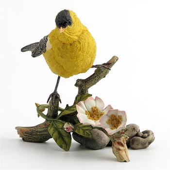 Creative Bird Art Sculpture Yellow Crested Finch Statue Animals Brambling Figurine Resin Art&Craft Home Decoration R1830