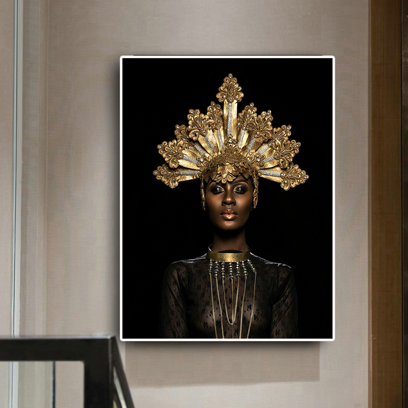 Abstract Gold Crown Black African Woman Oil Painting On Canvas Posters And Prints Scandinavian Wall Art Picture For Living Room