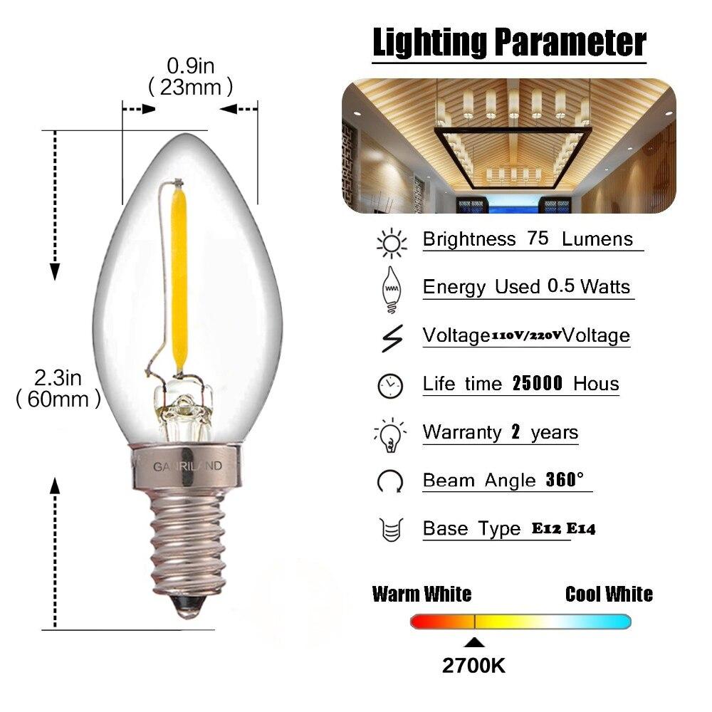 Ganriland C7 Led Dimmable Bulb E14 E12 0 5w Refrigerator Led Filament Light Bulb 2700k 110V 220V Chandelier Pendant Edison Lamps in LED Bulbs Tubes from Lights Lighting